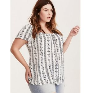Torrid embroidered gauze blouse